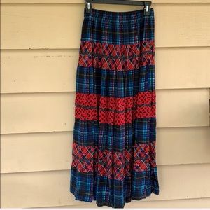 Carole Little Maxi Vintage Plaid Paisley Skirt M